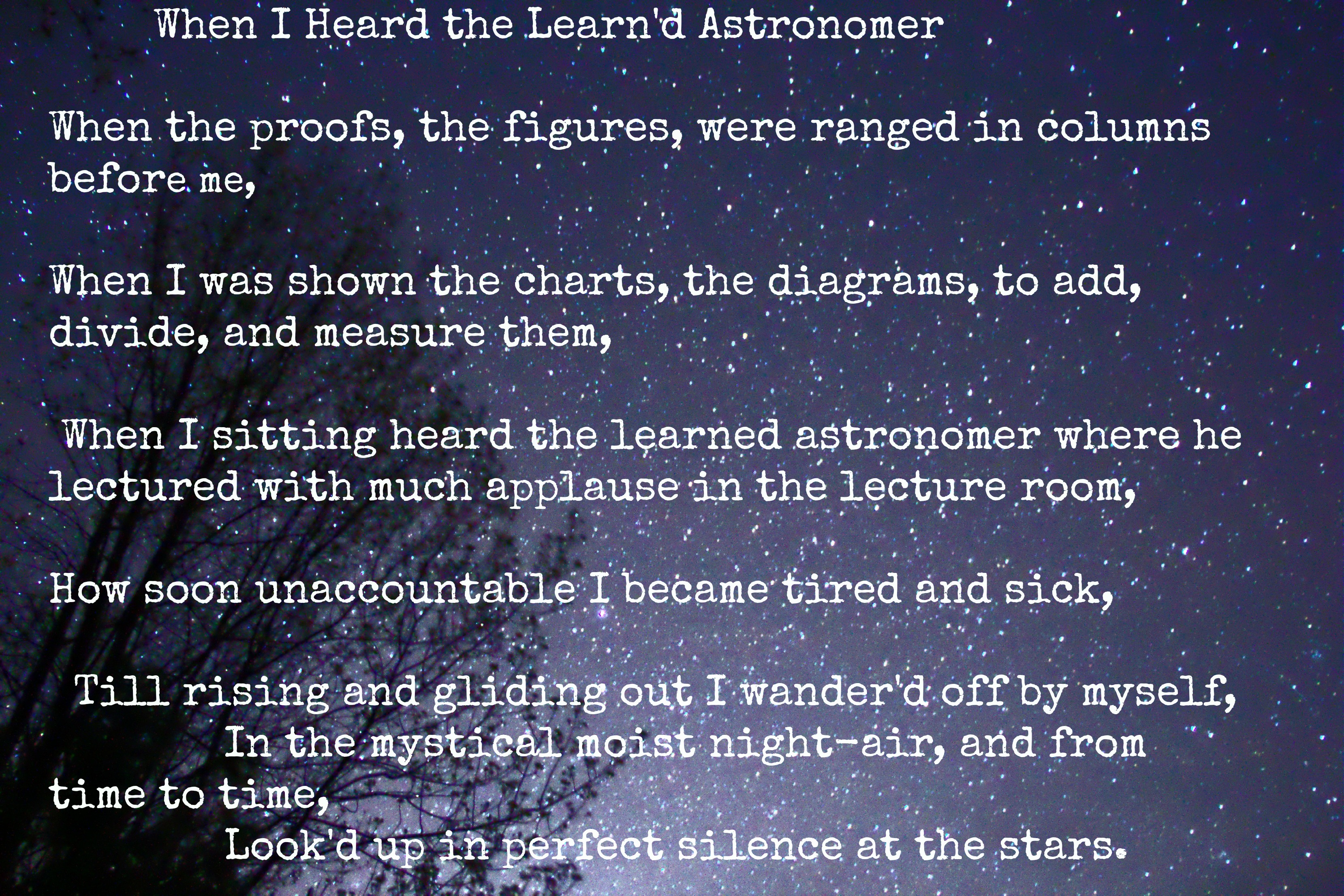 Astronomy Poem Walt Whitman (page 2) - Pics about space