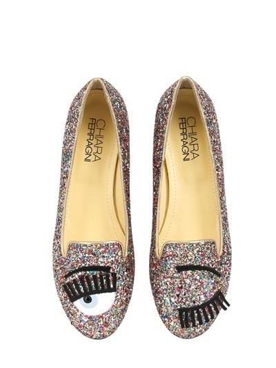 Chiara Ferragni, wink shoes, glitter shoes