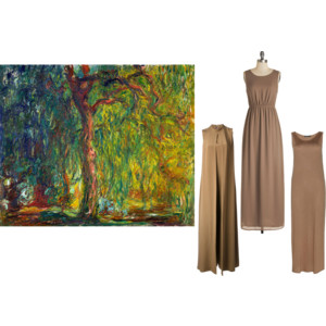 monet painting, willow tree, maxi dresses, brown dress