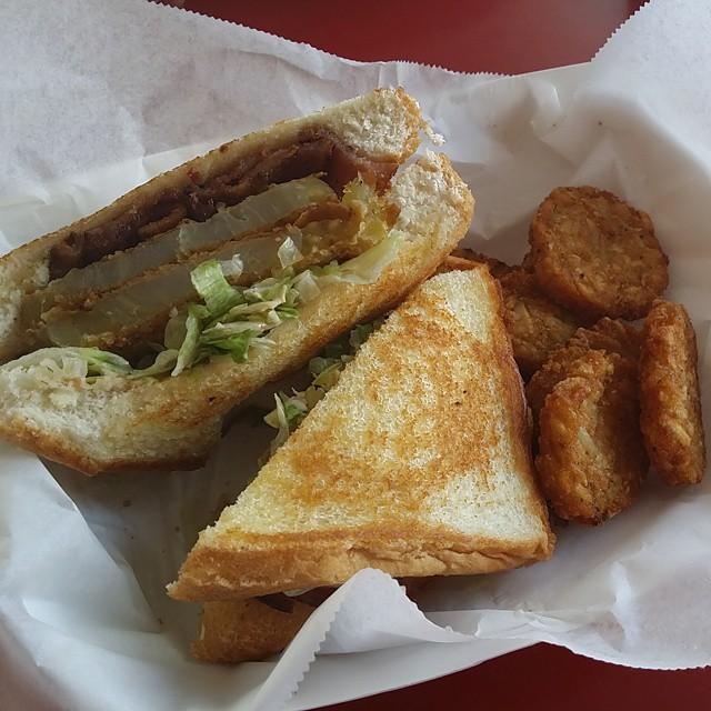 Fried green tomato BLT sandwich for brunch. Yep. That happened. #yum # ...